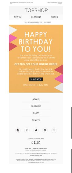 topshop birthday email