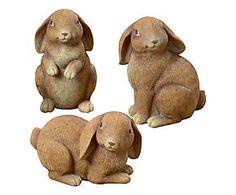 3 Lapins décoratifs KLOPER résine, marron - H16