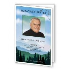 Brown Sunset Funeral Program Template   Page Graduated Fold