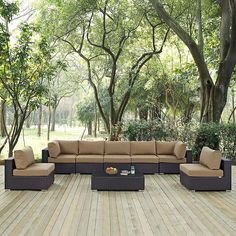 Modway Furniture Modern Convene 8 Piece Outdoor Patio Sectional Set Gather stages of sensitivity with the Convene outdoor sectional series. Outdoor Cushions, Outdoor Seating, Outdoor Sectional, Outdoor Blanket, Modern Furniture, Outdoor Furniture Sets, Deck Design, Wall Wallpaper, Free Printable