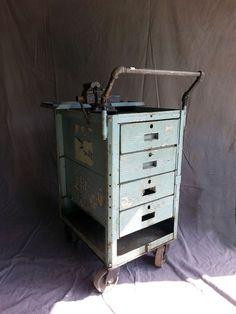 Vintage Industrial Machine Age Steampunk Wheeled Metal Storage Cabinet