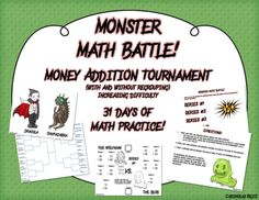 Monster Math Battle! Practice addition of money with this highly engaging and unique tournament style math project! Elementary Math, Kindergarten Math, Teaching Math, Teaching Ideas, Fifth Grade Math, Second Grade, Sixth Grade, Fourth Grade, Math Resources