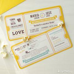 Invitación boda, entrada de cine