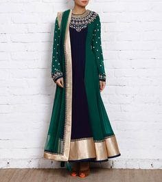 Panisha's New Indian Pakistani  Rama Green Georgette Anarkali Suit Designer R...