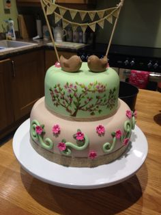 Just married bunting wedding cake  love birds  cherry blossom, hand painted www.sarahlouisecakedesign.co.uk