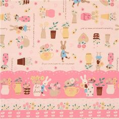 natural color cute Le Sucre bunny rabbit flower oxford fabric from Japan 1