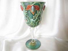 Enchanted Emerald Garden Hand Painted Goblet OOAK Iridescent Favrile Glass Inverted Baluster Stem Goblet Art Nouveau Inspired