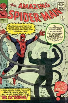 Amazing Spider-Man Dr Octopus makes his first appearance. Cover by Steve Ditko. Marvel Comic Character, Marvel Comic Books, Comic Books Art, Comic Art, Book Art, Marvel Characters, Silver Age Comics, Bruce Timm, Univers Marvel