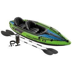 Intex Challenger K2 Two Person Inflatable Kayak Kit With Oars