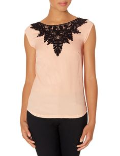 Lace Detail Woven Front Top