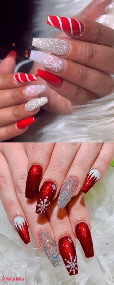 Cutest and Festive Christmas Nail Designs for Celebration Amazing snowflake, glitter, and red Christmas nails ideas!Amazing snowflake, glitter, and red Christmas nails ideas! Chistmas Nails, Cute Christmas Nails, Xmas Nails, Holiday Nails, Red Nails, Christmas Makeup, Valentine Nails, Christmas Acrylic Nails, Halloween Nails