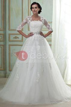 Amazing Ball Gown Strapless Chapel Train Appliques Wedding Dress : Tidebuy.com