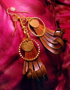 Handmade Leather Earrings available on Etsy