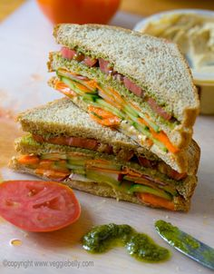 double layer summer vegetable sandwich w/hummus and pesto. There is really nothing like a well crafted veggie sandwich. Vegetarian Recipes, Cooking Recipes, Healthy Recipes, Yummy Recipes, Cooking Tips, Healthy Food, Veggie Sandwich, Sandwich Recipes, Vegan Sandwiches