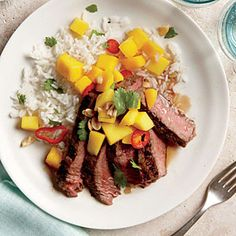 Grilled Sirloin Steak with Mango and Chile Salad | CookingLight.com #myplate #protein #fruit #vegetables
