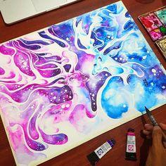 #deer #galaxy #painting #color