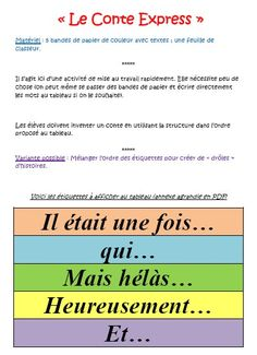 Le conte express This is an activity for French language classrooms. The idea is to give students strips that are opening, transition, and closing statements to have them create a story in French. French Teaching Resources, Teaching French, French Education, French Grammar, Core French, French Classroom, French Immersion, French Teacher, Classroom Language