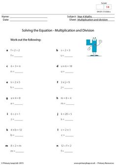 math worksheet : primaryleap co uk  balancing equations  multiplication and  : Division Equations Worksheet