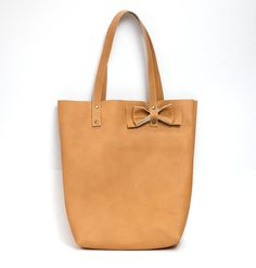 Camel Tan leather tote bag // Simple market by AngelaValentineBags, $98.00