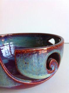 LARGE Burgundy Rustic Spiral Ceramic Wheel Thrown Yarn Bowl-