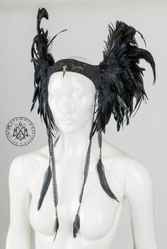 Feather headdress Black wings Valkyrie headpiece with lace feather tassels Edgy fashion Burning man Dark fusion LARP cosplay headgear by MetamorphDK on Etsy https://www.etsy.com/listing/209214337/feather-headdress-black-wings-valkyrie