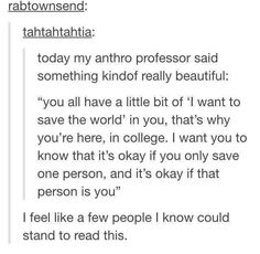 It's okay if you only save one person