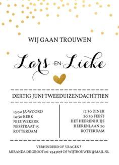 Trouwkaart gouden confetti #trouwkaart #trouwkaarten #weddingannouncement