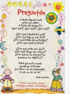 POESIAS PARA EL COLE                                                       …                                                                                                                                                     Más Spanish Help, Spanish Songs, Spanish Lessons, Dual Language Classroom, Spanish Classroom, Teaching Spanish, Preschool Poems, Preschool Activities, Bilingual Education