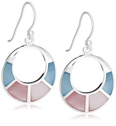 Tuscany Silver Sterling Silver Pink and Blue Mother of Pearl Cut Out Drop Earrings wtJbdD5r