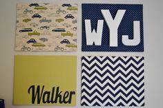 DIY Nursery Wall Art (canvas, fabric, letters, name)
