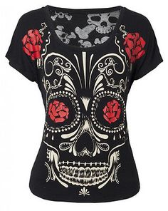 Sugar Skull Day of the Dead Shirt Top Jawbreaker Día de los Muertos Burnout