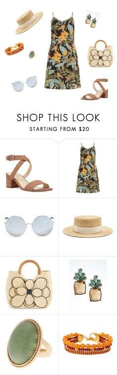 """Shopping at the Beach"" by lorithardin ❤ liked on Polyvore featuring Nine West, Matthew Williamson, Filù Hats, Mar y Sol, Banana Republic and Henri Bendel"
