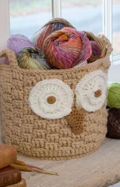 It's a Hoot Owl Container Free Crochet Pattern from Red Heart Yarns-I'm thinking for books in the library!