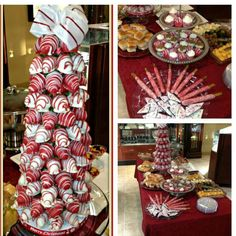 Chocolate Covered Strawberry Tree and treats for a Business Christmas Party.