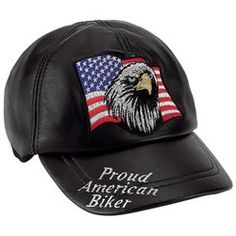 Diamond Plate™ Solid Genuine Lambskin Leather Adjustable Cap with Biker Logos $18.50