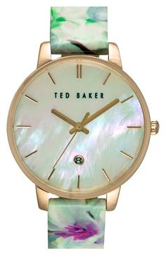 Ted Baker London Floral Print Strap Watch, 40mm available at #Nordstrom