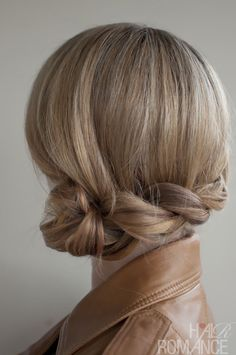 side bun, braided (or twisted?)