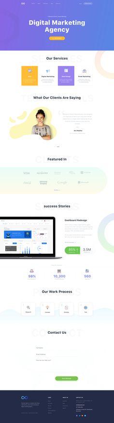 Free digital marketing agency website template for Sketch Web Design Projects, Web Design Tips, Flat Design, App Design, Website Layout, Web Layout, Interface Web, Web Company, Logo Design Tutorial