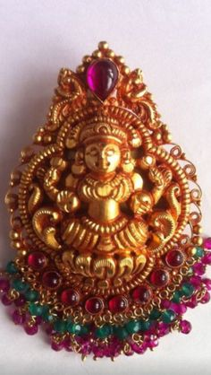 Gold Handmade Laxmi Nakash Pendant Temple Jewellery K T ARTS Kolhapur.