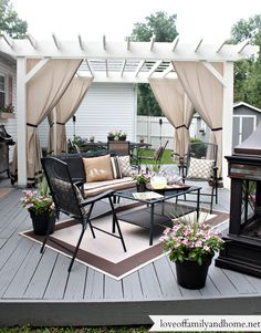 You don't need to travel far for a relaxing outdoor retreat. Turn your backyard into a beautiful oasis with one of these pergola ideas. We found free pergola plans, as well as fun decorating ideas for existing patio and porch covers. Pergola Curtains, Wood Pergola, Deck With Pergola, Backyard Pergola, Modern Pergola, Low Deck, Rustic Pergola, Pergola Carport, Steel Pergola