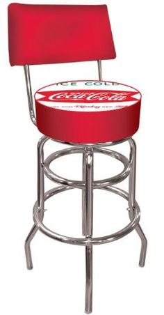 Trademark Vintage Coca-Cola Coke Pub Stool with Back (Ice Cold Design) by Trademark Global. $94.99. Officially Licensed Logo. 7.5 in X 14.75 in diameter padded Commercial grade vinyl seat. Backrest for added comfort. Adjustable Levelers. Chrome plated double rung base. This Officially Licensed, The Vintage Coca-Cola Coke - Ice Cold Design Logo Padded Bar Stool with Back Rest will be the highlight of your bar and gameroom. A 30 inch high bar stool great for bar pub table and bar...