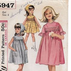 A Smocked, Full Skirt, Sleeveless/Ruffled Short Sleeve Dress & Triangle Scarf Sewing Pattern for Girls: Size Breast Childrens Sewing Patterns, Vintage Sewing Patterns, Sew Baby, Short Sleeve Dresses, Dresses With Sleeves, Triangle Scarf, Ruffle Shorts, Cute Outfits For Kids, Fashion Sewing