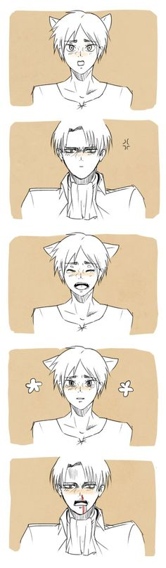 Levi x neko!Eren ~ can't stay mad at that face T^T