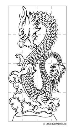 Asian dragon ice sculpture template