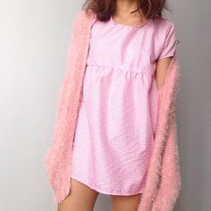 f6a0dd8b5498 Listed on Depop by shesamermaidcat. Pink Gingham, Babydoll Dress ...