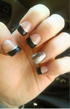 Black and Silver Tips.  #blackandsilver #nails#gelnails