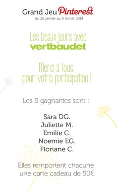 #GrandJeuLesBeauxJours avec @vertbaudet Les gagnants !