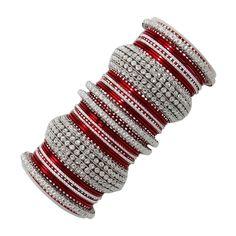 Silver Tone Red Bangle Set Traditional Wedding Kangan Bangle Set, Bracelet Set, Bangle Bracelets, Bridal Bangles, Fashion Bracelets, Indian Jewelry, Wedding Jewelry, Women Wear, Silver