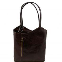 Dunkelbraune Leder Rucksack für Damen. Die Tasche hat zwei Fächer und ist innen gefüttert. Wunderbare Ledertasche, in Italien hergestellt. Pflanzlich gefarbt in der Toskane. -