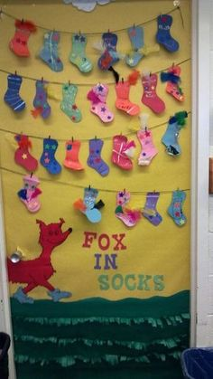 Annes door at school. fox in socks.